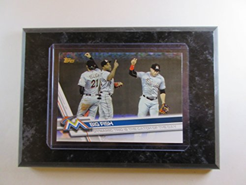 Big Fish Miami Marlins Topps 2017 Dynamic Trio is the catch of the day card mounted on a 4