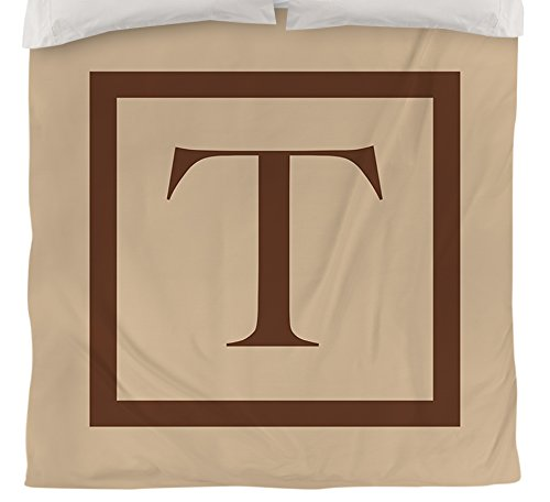 UPC 888635250188, Manual Woodworkers & Weavers Duvet Cover, Twin, Monogrammed Letter T, Caramel Classic Block