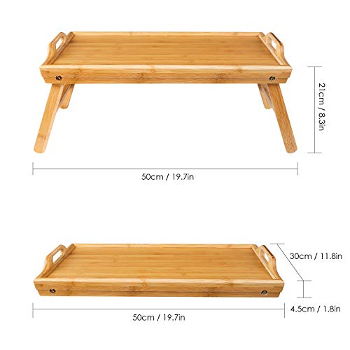 HOMFA Bamboo Breakfast Serving Tray with Handle, Foldable Bed Table, Laptop Desk, Pad Snack Book Drink Platter, Nature