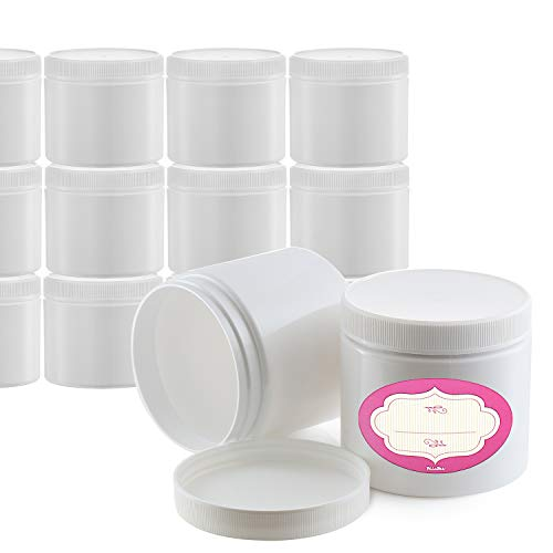 Pack of 12-4 Ounce Storage Jars with Lids & Labels - 4 oz Refillable Round Cosmetic Jars - White Cosmetic Lotions Containers - All-Purpose BPA-Free Plastic Pots - Lids with Inner Liners