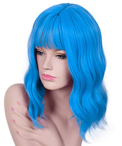 Akali Blue Wigs for Women Heat Resist Synthetic 14inch Natural Wavy Bob Wig with Air Bangs Sky Blue Wig Party Cosplay Wigs]()