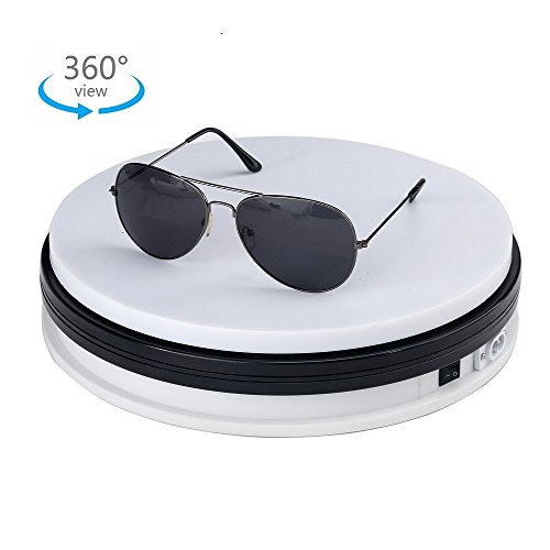 White Display Stand Base, MonoDeal Rotating Display Turntable 360 Degree Rotating Clockwise or Anticlockwise, 60 Lb Capacity, 9.8'' Diameter, for Showcase, Cake Decoration, etc - With 110v Ac Adapter