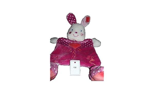 Kiabi - Doudou Nicotoy Kiabi conejo plana rosa corazón naranja sonajero lunares - 488: Amazon.es: Bebé