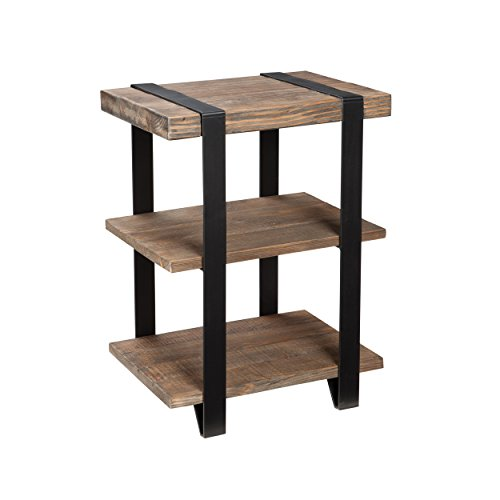 "Stowe Reclaimed Wood and Metal 20"" W End Table with Two Shelves, Natural Finish"