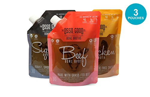 Osso Good Bone Broth Sampler Variety Pack, High in Protein & Collagen, Gluten Free, Paleo Certified & Whole30 Approved, Supports Gut Health (3 Pack)