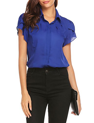 Gumod Women's Collared Pleated Short Sleeve Fitted Button Down Shirt Casual Work Chiffon Blouse, Blue, ()