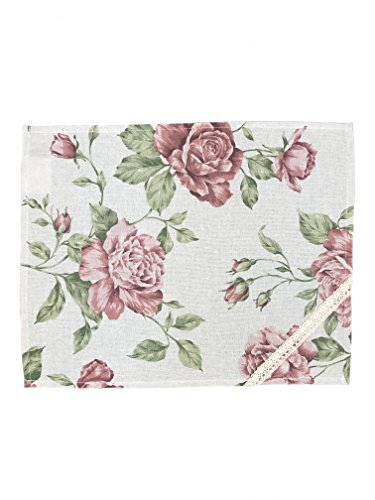 (Provence Cotton Napkin in French Country Style with Cotton Lace, 17'' x 13 1/2'', Pink Rose)