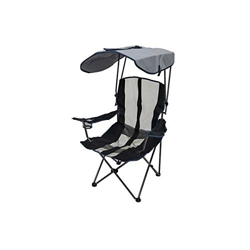 Kelsyus Premium Portable Camping Folding Lawn Chair w/ Canopy, Navy | 80188, with portable folding chair and sun shade, perfect for camping trips, tailgating, watching sporting events from the sidelin (Chair Camping Shade)