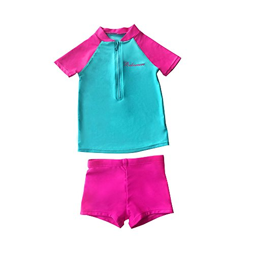 BALNEAIRE Girls Two Piece Swimsuits UPF 50+ Zipper Swimwear for Kids Rash Guard Size 3-4 Pink
