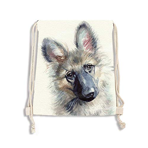 Colorful Drawstring Bags - Drawstring Backpacks, German Shepherd Dog Lightweight Polyester Cinch Sack Tote