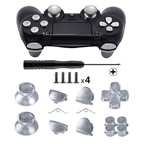 TOMSIN Metal Buttons for DualShock 4, Aluminum Metal Thumbsticks Analog Grip & Bullet Buttons & D-pad & L1 R1 L2 R2 Trigger for PS4 Controller Gen 1 (Silver)