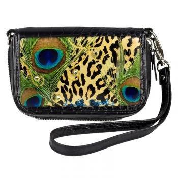 Cell Phone Case Wristlet- Black- Leopard