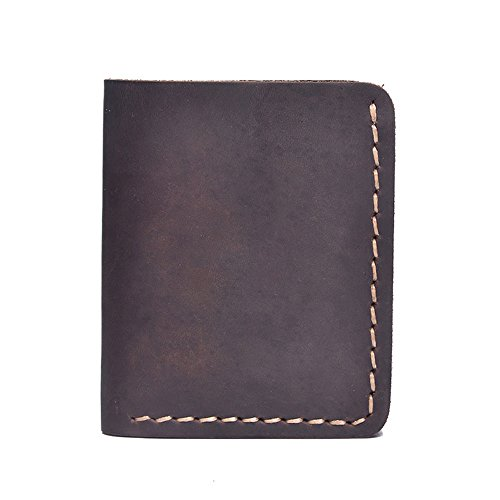 Bowiyang Short Men and Women General Minimalist Style Leather Money Charter Suture Practical Portable Mini Pocket Wallet Daily Use Wallet Leather RFID Blocking Wallet (Color : Coffee) (Credit Score Needed For American Eagle Credit Card)