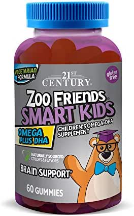 21st Century Zoo Friends Smart Kids Omega Plus DHA Gummies, Orange, Lemon and Cran Orange, 60 Count