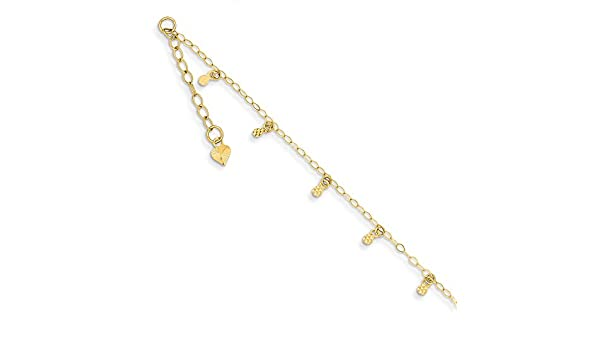 14 kt Yellow Gold 14K Oval Link Chain with Hearts w// 1in Ext Anklet Length 9 in