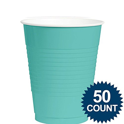Robin's Egg Blue 12oz. Plastic Cup (50 Pack) - Party Supplies