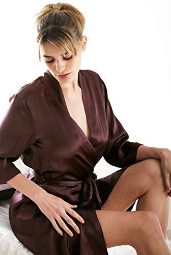 Vestaglia di seta o di seta Negligee Silk Cocoon Cioccolato