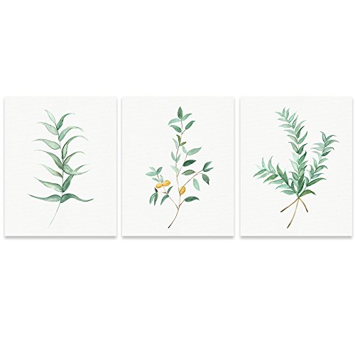 Buzart Canvas Wall Art for Living Room, 3 x Green Leafs Painting, Wall Art Decor 15.7