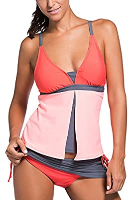 Chase Secret Womens Summer Colorblock Tankini Top and Bottom Set Swimsuit