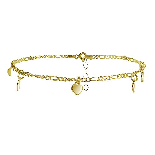 Gold Dangling Heart Bracelet - Hoops & Loops Yellow Gold Flashed Sterling Silver Figaro Chain Anklet with Dangling Heart Charms