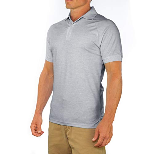 - Comfortably Collared Men's Perfect Slim Fit Short Sleeve Soft Fitted Polo Shirt, Large, Gray