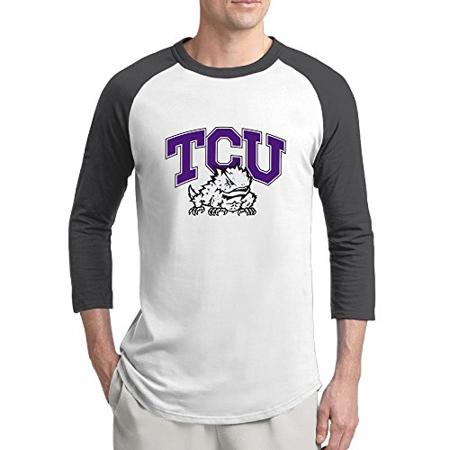 EVALY Men's Geek Baseball Short Sleeve Tee Texas Christian University Frogs