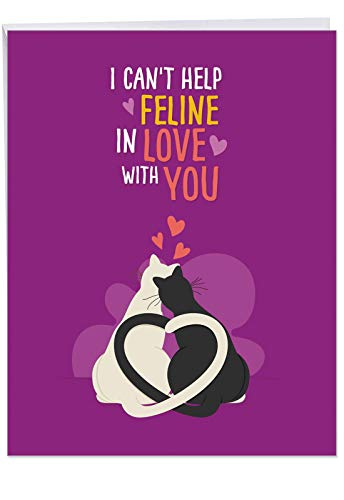 (Large Anniversary Greeting Card - Cat Cards, Featuring Loving Cartoon Felines Snuggling Together with Hearts and Color Background, With Envelope (Extra Large Size: 8.5