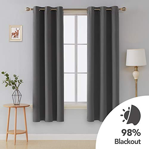 Deconovo Grommet Thermal Insulated Curtains Room Darkening Window Panels for Living Room 42x72 Inch Dark Grey 2 Curtain Panels