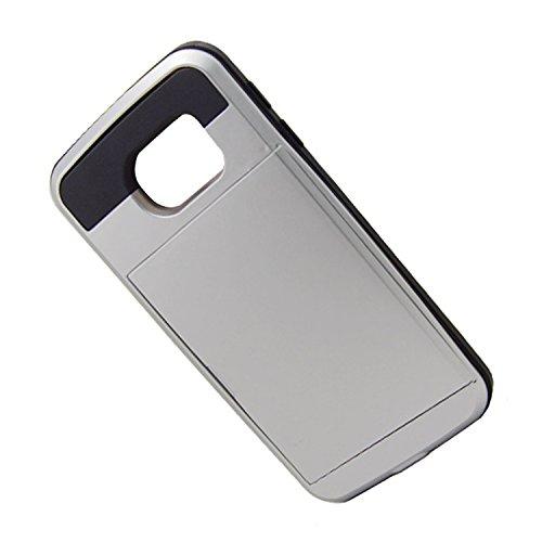 Telefon-Kasten - SODIAL(R)Karte Tasche Stossfeste Duenne Hybrid Mappe Abdeckung fuer Samsung Galaxy S6 Edge Silber
