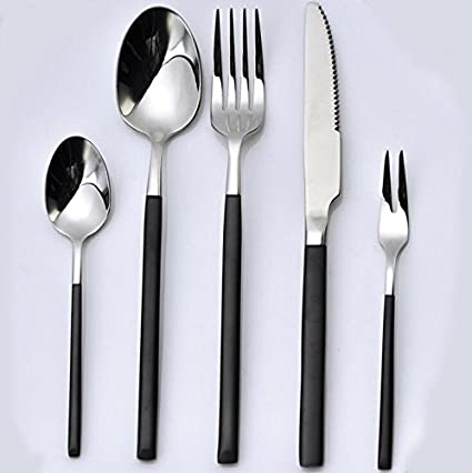 Ancaixin Cubertería Cubiertos de Acero Inoxidable con 5 Piezas Cuchillo Cuchara Tenedor Cucharita café Tenedor Pastel
