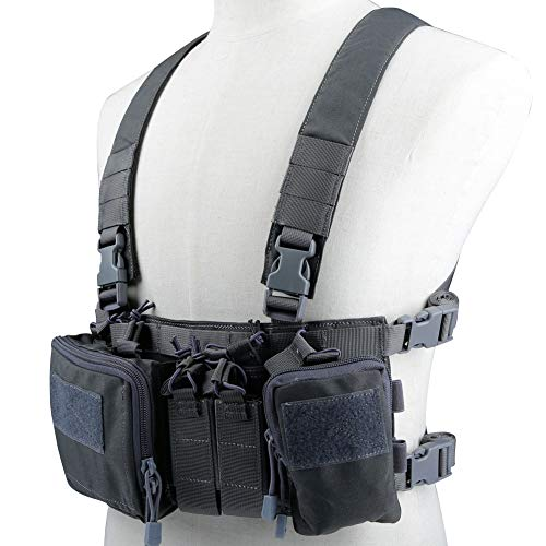 Lightweight Vest Military Recon Chest Rig with Molle Pocket Detachable Pouches-G