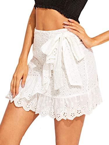 WDIRARA Women's Casual Wrap Belted Mid Waist Ruffle Hem Mini Skirt White S