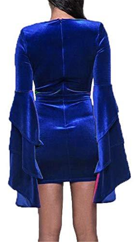 Frauen H Minikleid Mode Lange Clubs V Velour Blau Bodycon Cromoncent Ansatz Tiefer lse wSxOpTdq