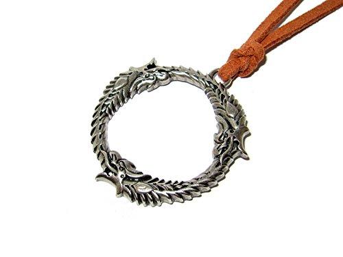 QueenGEEK Skyrim The Elder Scrolls Dragon Ring Circle Ourosboros Pendant Necklace US SELLER (Pendant Scroll Circle)