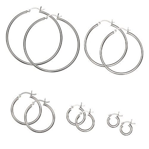 .925 Sterling Silver Plain 2mm Thin Polished Round Hoop Earrings CHOOSE A SIZE