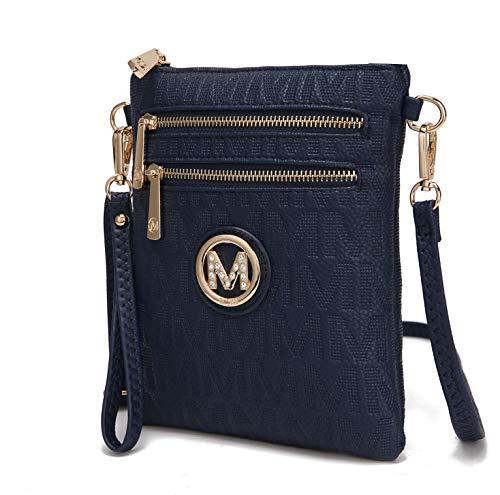 MKF Crossbody Bags for Women, Wristlet Strap – PU Leather Shoulder Handbag – Small Crossover Messenger Purse