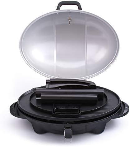 Cloer 6789 Barbecue sur pied avec thermomètre intégré, Stiftung Warentest 05/2020, 2400 W, surface de cuisson : 38,5 x 52,5 cm, rangement peu encombrant, noir, argent