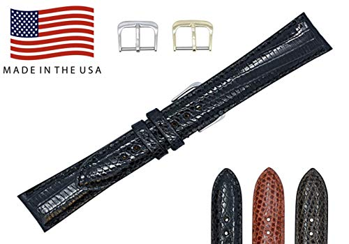 19mm Black Genuine Lizard - Padded Stitched Watch Strap Band - Gold & Silver Buckles Included – Factory Direct - Made in USA by Real Leather Creations FBA338 -