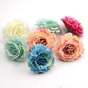 JIAHUADE 10Pcs 6Cm Silk Rose Artificial Flowers Head Weddings Decoration Home Garden Furnishings DIY Crafts Fake Flower 77