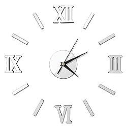 Pawaca Large 3D DIY Wall Clock Frameless Roman Numerals Clock Kit Mirror Wall Sticker Acrylic Mute Wall Clock Home Office Removable Decoration