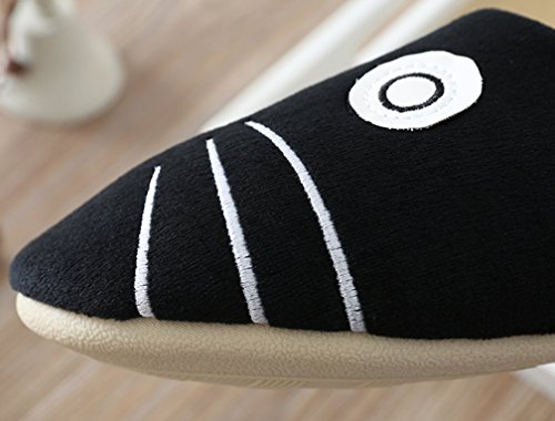 Cattior Mujeres Animal Cute Funny Slippers Señoras Zapatillas De Dormitorio Interior Gato Negro