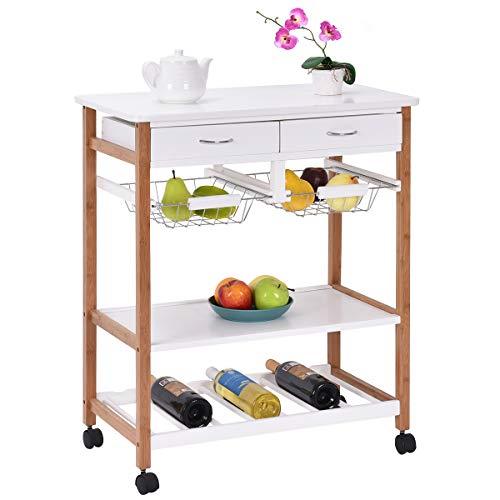 Giantex Rolling Wood Kitchen Trolley Cart Island Storage Basket Wine Rack w/Drawers