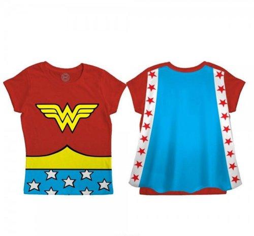Wonder Woman Costumes T Shirt (DC Comics Wonder Woman Toddler Costume Cape Tee (3T, Red))