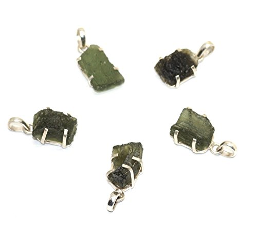 Healing Crystal Heart Ring (Healing Crystals India: One (1) Fine Moldavite Tektite 925 Silver Pendant From Czech Republic - 10-15 Carats)