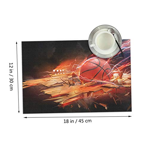 Carmen Belinda Basketball Wallpaper Placemats Set of 4 for Dining Table Washable Place Mats for Kitchen/Dinning Table, Home Table Decor Non-Slip Heat Resistant, 12x18 Inches ()