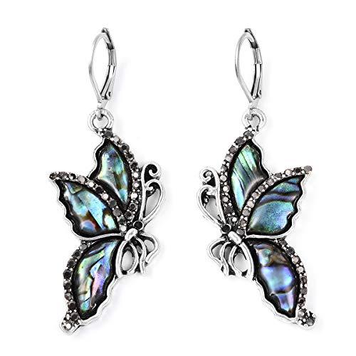(Silvertone Abalone Shell Black Crystal Lever Back Butterfly Dangle Drop Earrings for Women Gift)