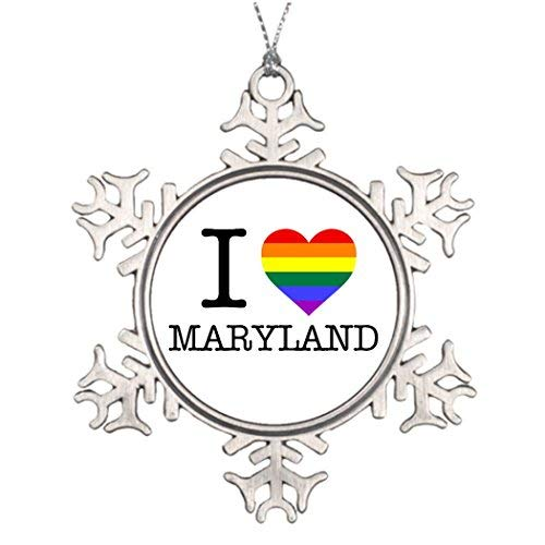 Vehfa Tree Branch Decoration I Pride Heart Maryland Make Christmas Snowflake Ornaments for $<!--$11.49-->