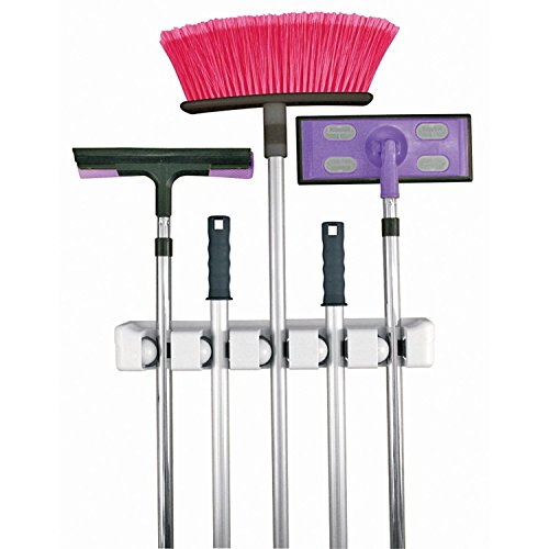 Xcellent Global 5 Position Mop Broom Holder Hanger Organizer Wall Rack M-HG022
