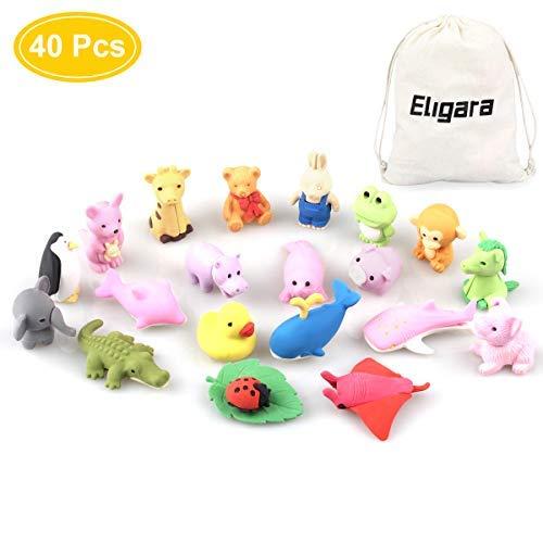 Bheddi Puzzle Erasers Kids (40 Pcs), Fun Animal Kawaii Take-Apart Eraser, Mini Cute School Eraser Supplies, Good Prize Kids, Eraser Toys Fun Collection -