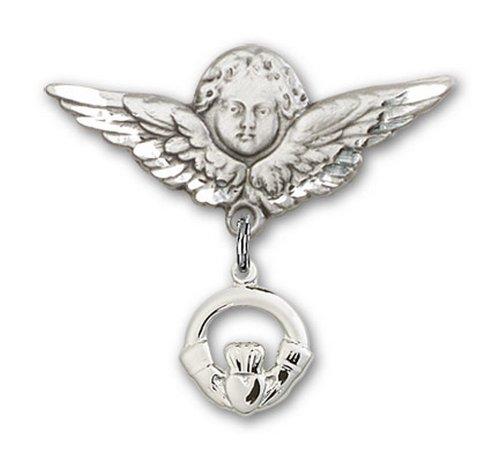 Icecarats Créatrice De Bijoux En Argent Sterling Claddagh Charme Ange Broche De Badge 1 X 1 1/8